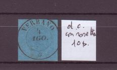 Sardinia, 1853 – 2nd issue – 20 cents – Blue – Cancelled with 10-point Verbano rosette DC cancellation.