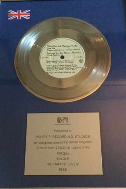 BPI Certified Silver Single - Phil Collins - Separate Lives for sale