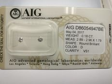 Lot of 2 Round cut diamonds total 0.18 ct D VS1