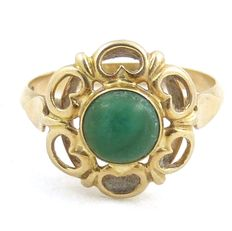 14 kt Gold ring with malachite, ring size: 17 mm