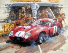"Fine Art Print - ""Maserati 450S Coupe 1957"" Moss/Schell at Le Mans 1957"