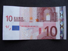 European Union - Germany - 10 euros 2002 Duisenberg - Intentionally cut wrong.