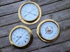Barigo/Wuba weather station in three parts: barometer, thermometer and hygrometer made of solid brass.