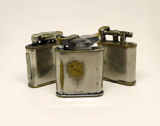 Chromed metal petrol lighters collection - early 20th century