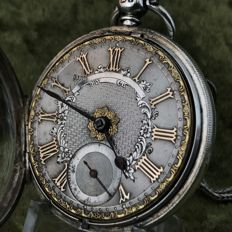 Silver men's fusee pocket watch from 1864
