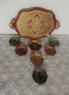 Colourful Italian tray with several coasters including 1 large one