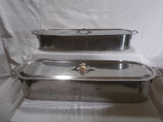 2 large fish pans, stainless steel