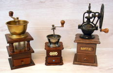 Collection of 3 antique special models coffee grinders