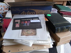 World - Large box with partial collections, scraps, cards, bags and various albums