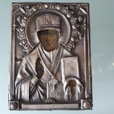 Wooden Russian icon - stamped - likely from 1893 - oklad cover