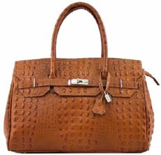 Vera Pelle brown croco shoulder bag