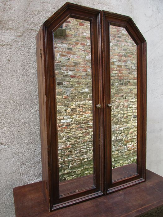 Antique Hanging Cabinet With Mirror Doors   Approx. 1930   The Netherlands    Catawiki
