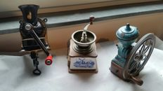 Three beautiful different coffee grinders