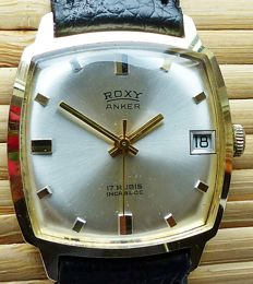 ROXY Anker 17 ruby with date - men's watch from the 1970s - very rare collector's item