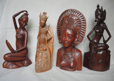 Wood carvings - collection of 4 different characters - Bali - Indonesia