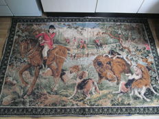 Antique gobelin tapestry with hunting scene