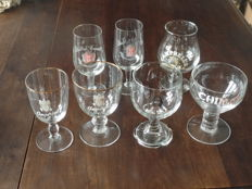Lot of seven old crystal beer glasses - early 20th century.