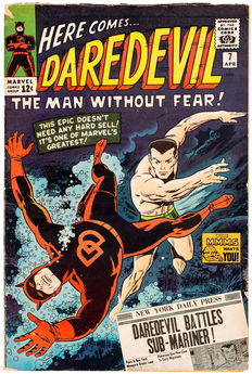 Daredevil #7 - First time wearing red costume - 1x sc - (1965)