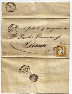 Kingdom of Italy, 1862, 1 x 10 cent bistre on letter