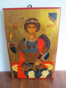 Icon St George enthroned - Hand painted tempera on wood - East Belgium - 20th century