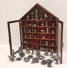 Typecase with glass doors and pewter miniatures - ca 1950 - the Netherlands