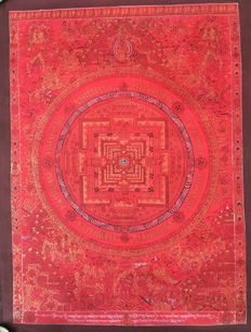 Thangka painting, Buddha Mandala- Tibet/Nepal - late 20th century