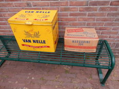 Lot of 2 antique decorative store packages - Van Nelle coffee and Leeuwenzegel butter - from mid 20th century