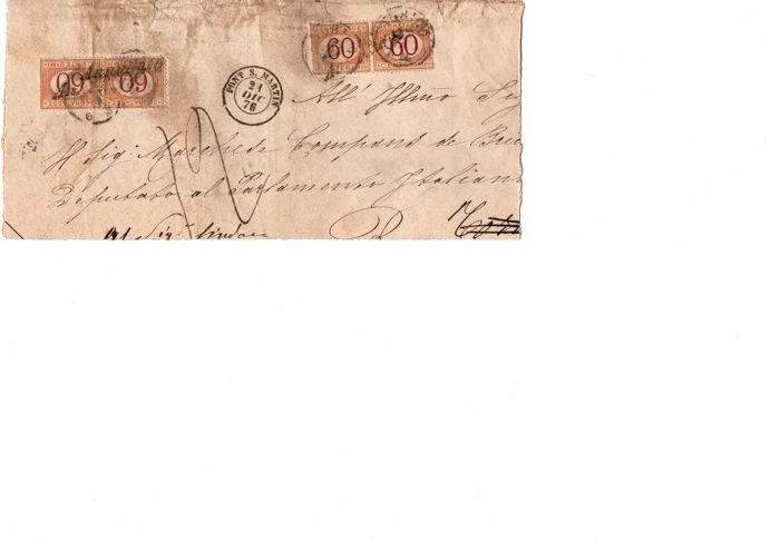 italy, 1886/'76 – 2 letters with postage due – 1a, 6 july 1886