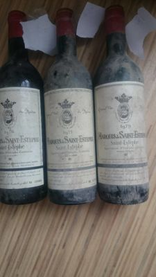 1976 Marquis de Saint Estephe x 1 bottle - 1977 Marquis de Saint Estephe x 1 bottle - 1979 Marquis de Saint Estephe x 1 bottle / 3 bottles in total