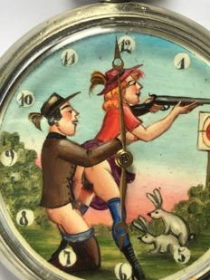 Doxa pocket watch with erotic scene on dial – from around 1940/1950