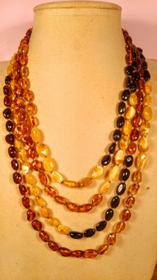 Genuine long Baltic Amber necklace, 48 grams