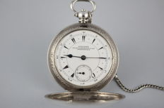 Rare Vintage Antique Silver Longines Nacib K.Djezvedjian & Son Constantinople Ottoman Turkish Full Hunter Pocket Watch With Chain, Key And a Coin of Ottoman