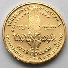 Unites States – 5 dollars 1987 'Bicentennial of the Constitution' – gold