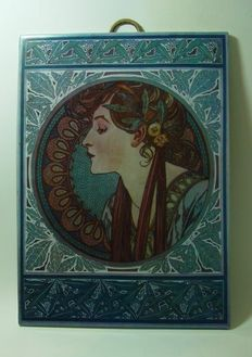 Tile with a depiction after Mucha