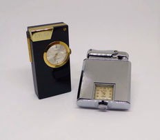 Two petrol lighters Art Decó style with built-in clock