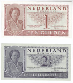 Netherlands - 1 and 2 ½ guilders 1949 Juliana - mevius 07 - 1a and 16-1b