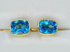 18kt gold Cufflinks with 7.29 carat Swiss blue Topaz *** No Reserve Price ***