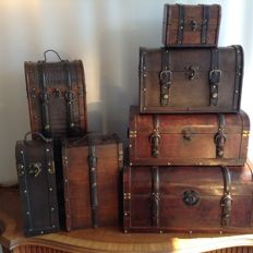 Collection of 7 different wooden wine/beverage cases-leather copper and brass fittings