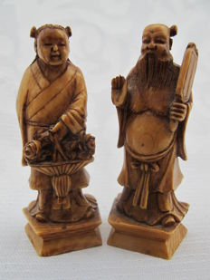 Two ivory figurines of immortals – China – early 20th century