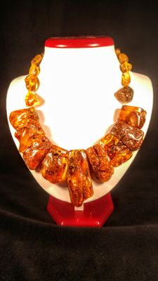 Natural Baltic Amber cognac colour necklace,  89 grams