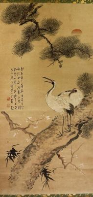 Two cranes on a pine branch with cherry blossoms and the sun in the background, signed with 香村 (Koson) – Japan – around 1920