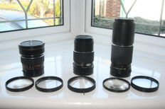 Mamiya 45mm f2,8, 150 mm f4, 300mm f5.6 lenses with soft focus,Close Up, Center Spot ,Multi Image and Skylight filters for 45MM