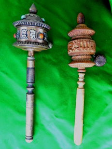 Two Tibetan prayer wheels – Nepal – Second half of the 20th century