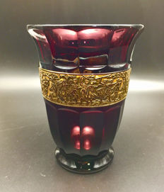 Walther August - Amethyst glass vase - Golden Greek Frize