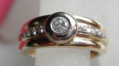 585 gold ring with 0.25 ct brilliant - 9.2 g, ring size 59