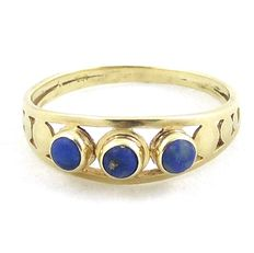 14 kt Gold ring with lapis lauli, size 17.25 mm