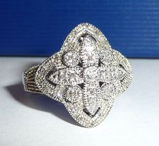 Rind made of 925 silver in Art Deco style with 37 diamonds of approx. 0.37 ct - size 63 / 20 mm diameter