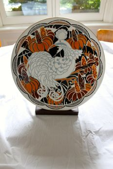 Keller & Guerin - Large polychrome earthenware Art Deco wall plate