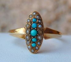 Marquise ring in 18 kt gold, fine beads and turquoise beads NO RESERVE