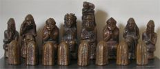 Heavy French Bronze / Silvered Bronze Lead Filled Chess Set No Board Medieval German 12th Century Style